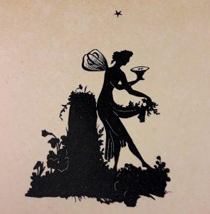 Muse sammelt Sterne. Scherenschnitt von Adele Schopenhauer © Susanne Wosnitzka