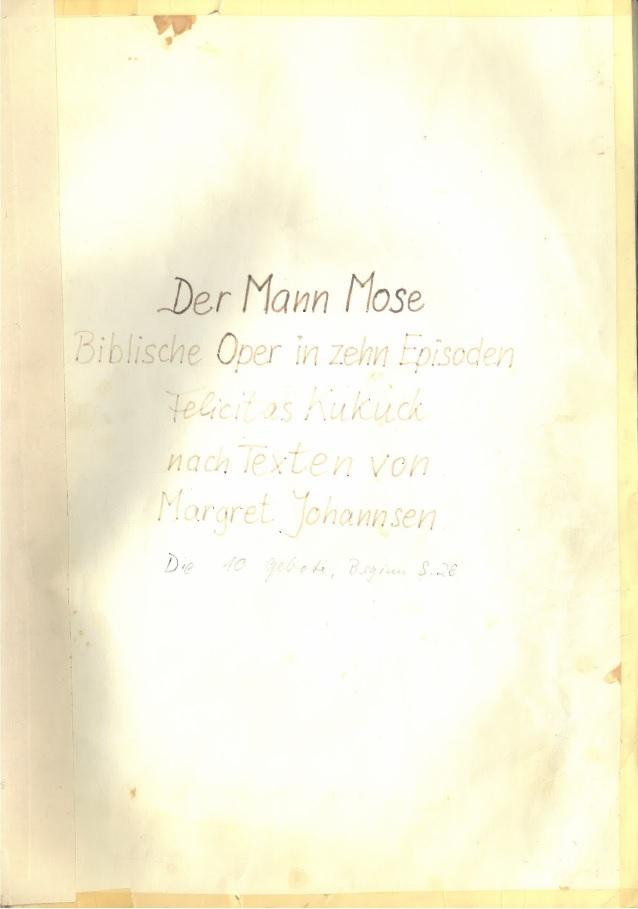 """Titelblatt """"Der Mann Mose"""" © Archiv Frau und Musik"""